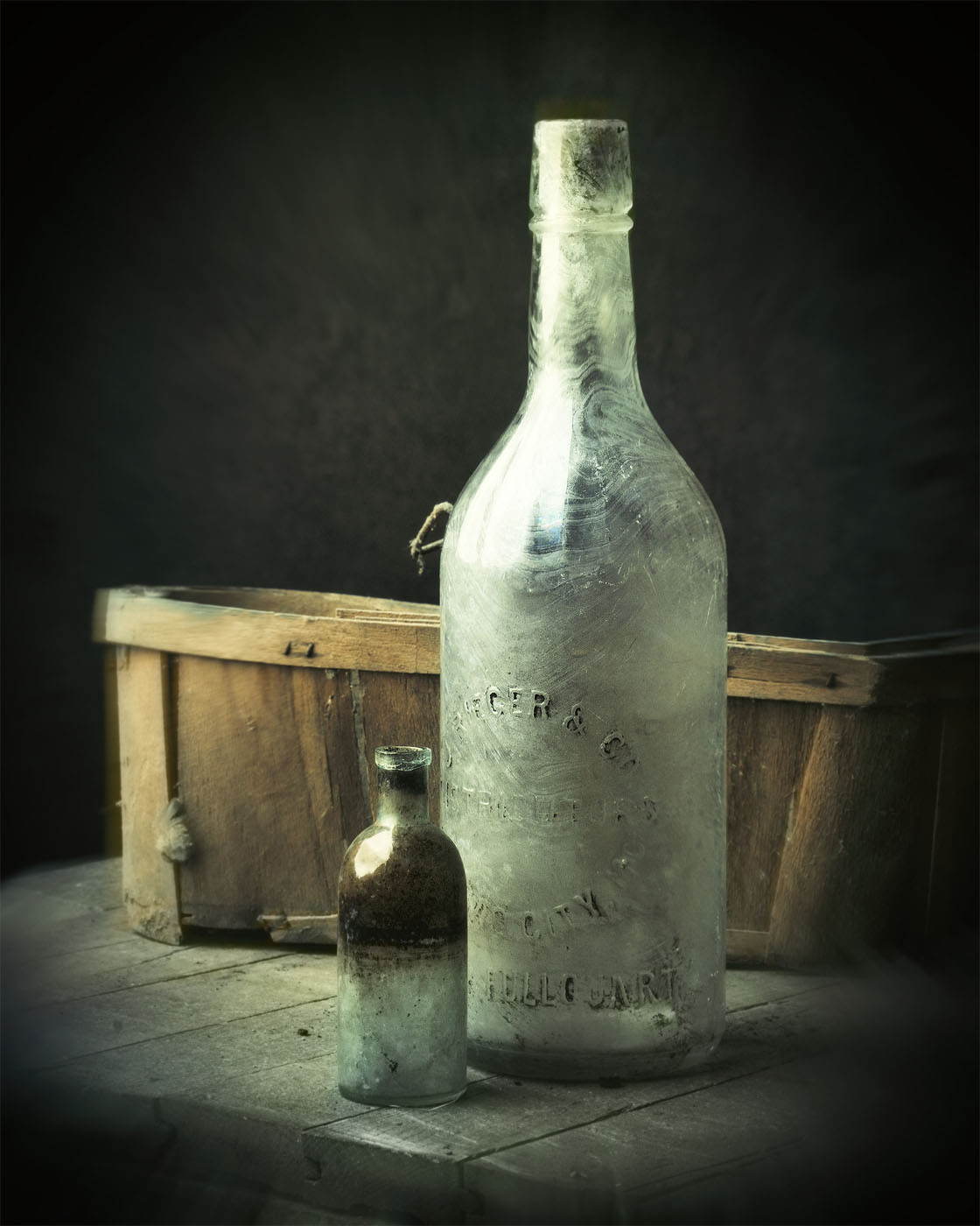 Items found in my studio crawlspace, an old basket and bottles
