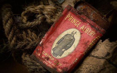 Rusting Prince Albert tobacco tin
